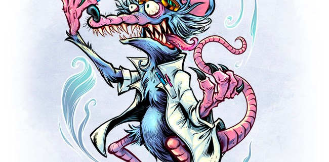 Creepy lab rat mascot wearing a