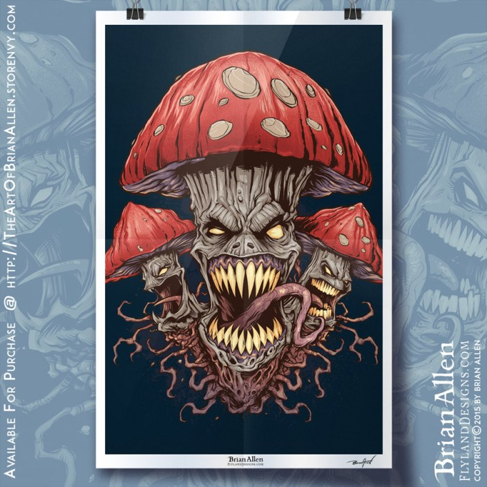 art print of evil mushrooms