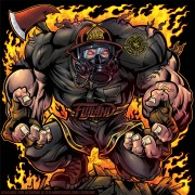 Muscular Firefighter running out