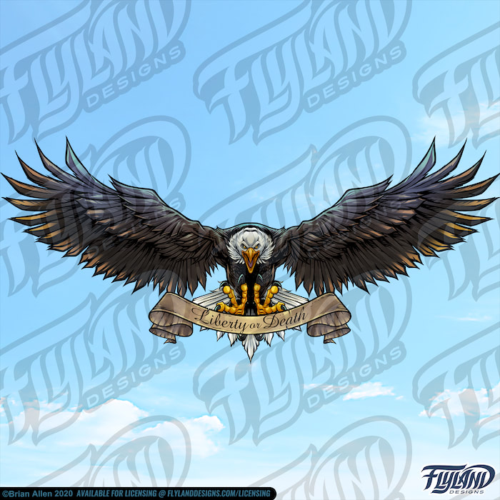 """The bald eagle flyings through the sky with a banner saying, """"Liberty or Death."""" The eagle's wings flared out. Stock Artwork by freelance illustrator Brian Allen"""