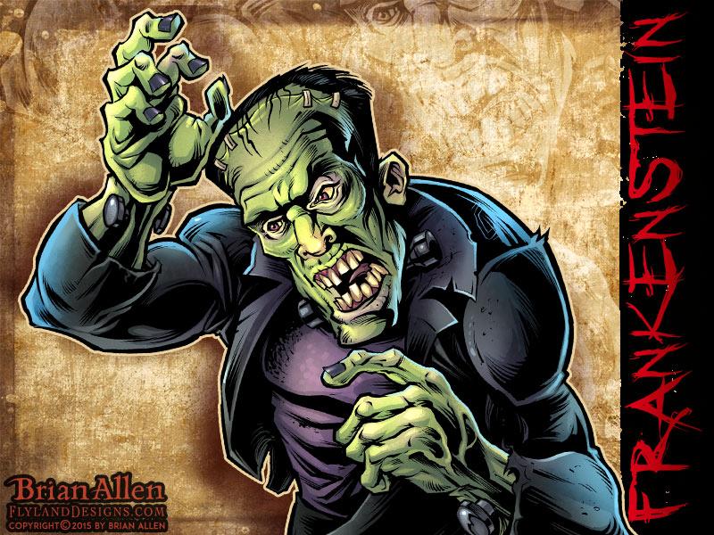 Horror Movie caricature of Frankenstein