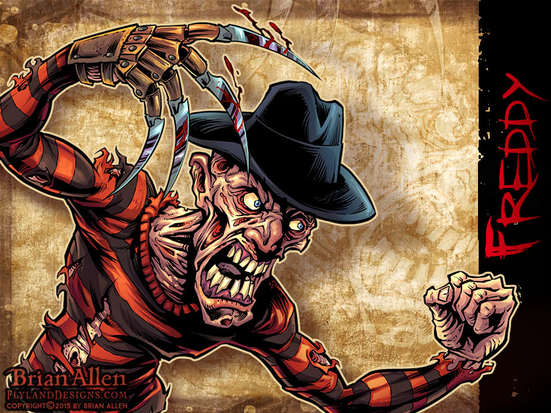 Character design of Freddy from The Nightmare on Elm Street
