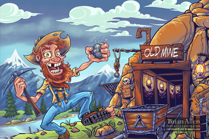Cartoon miner mascot standing ou
