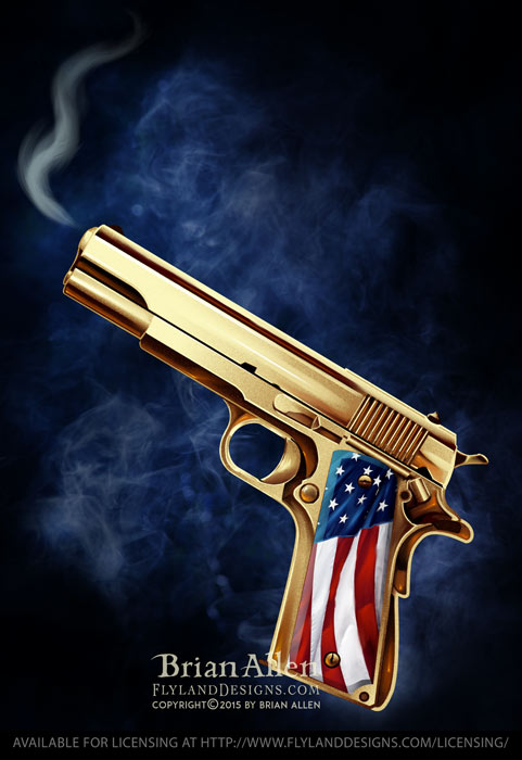 Illustration of a golden gun wit
