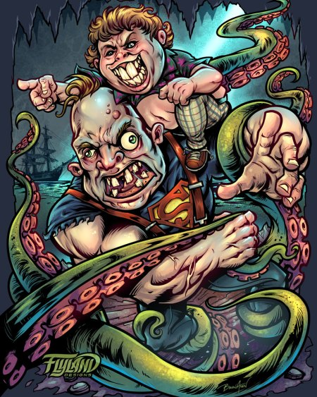 Art print parody of sloth and chunk from the Goonies battling an octopus