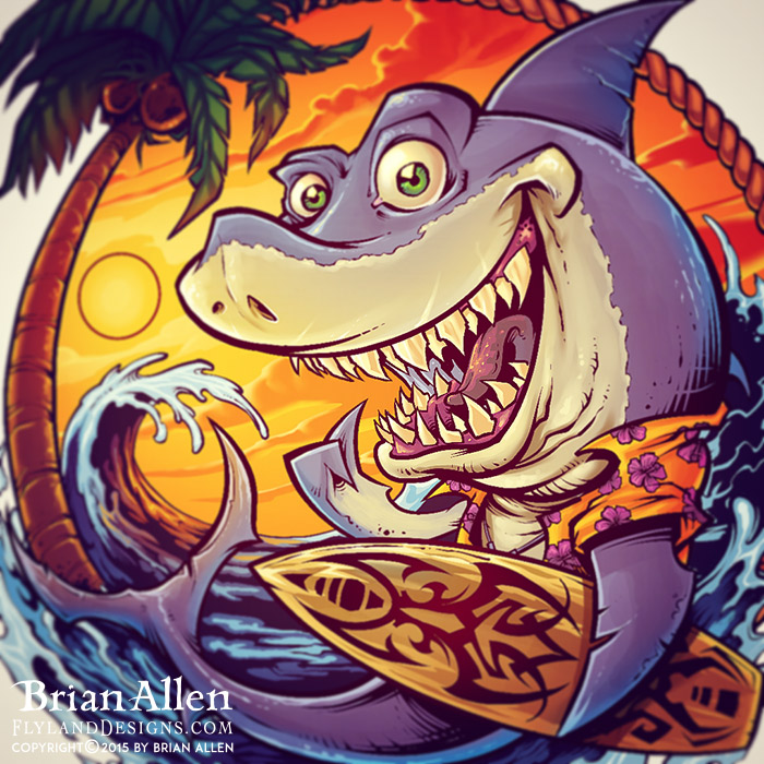 Cartoon shark at the beach holding a surfboard.