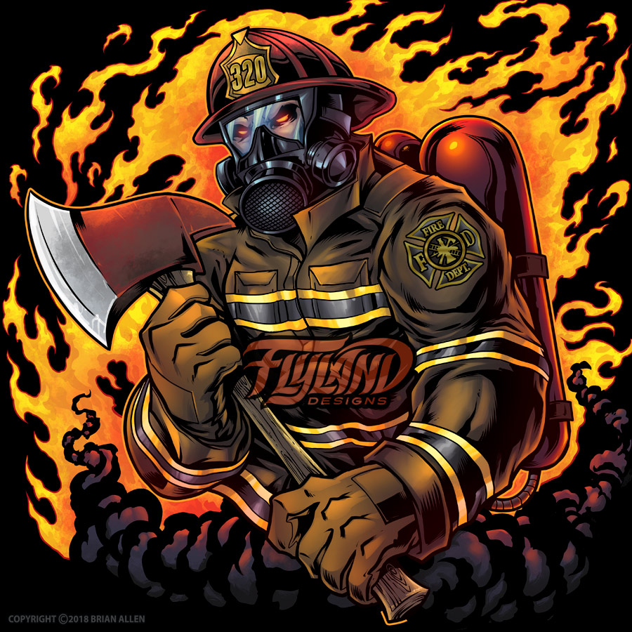Firefighter with axe and flames