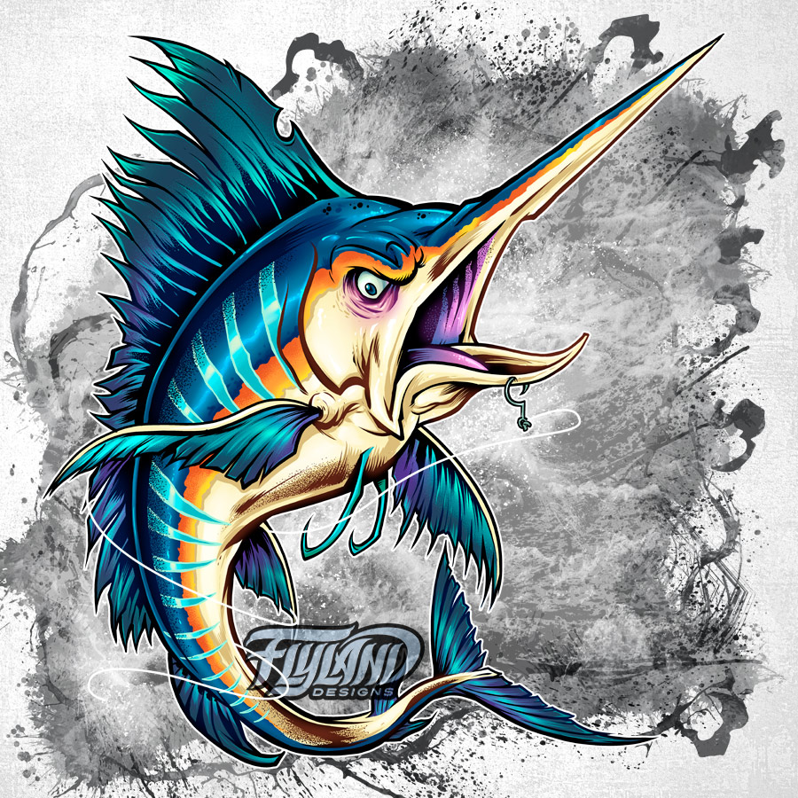 stylized mutant fish designs