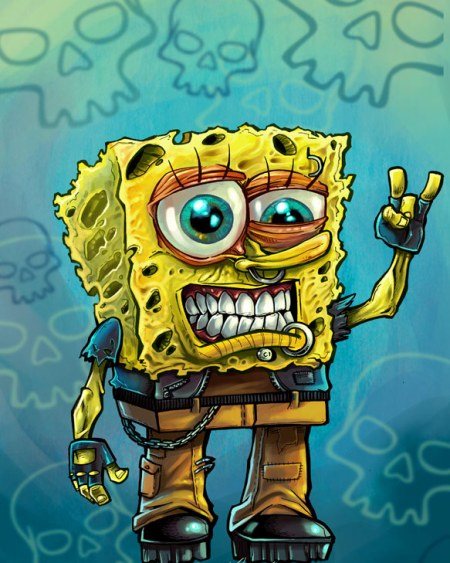 Cartoon illustration parody of Sponge Bob called Grunge Bob