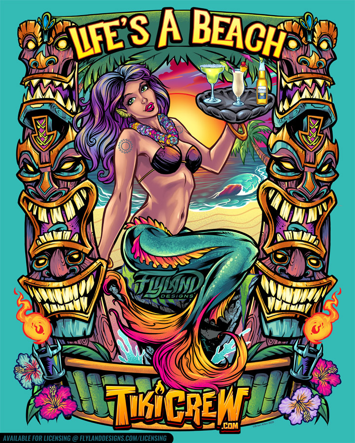 Mermaid on a beach holding drink