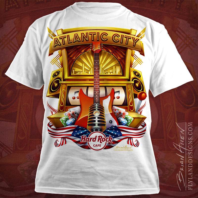 Hard Rock Cafe T-Shirt design of Atlantic City, New Jersey