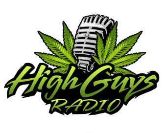 Logo design of a pot leaf and microphone for marijuana