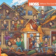 Editorial illustration of celebtiry caricatures building a house