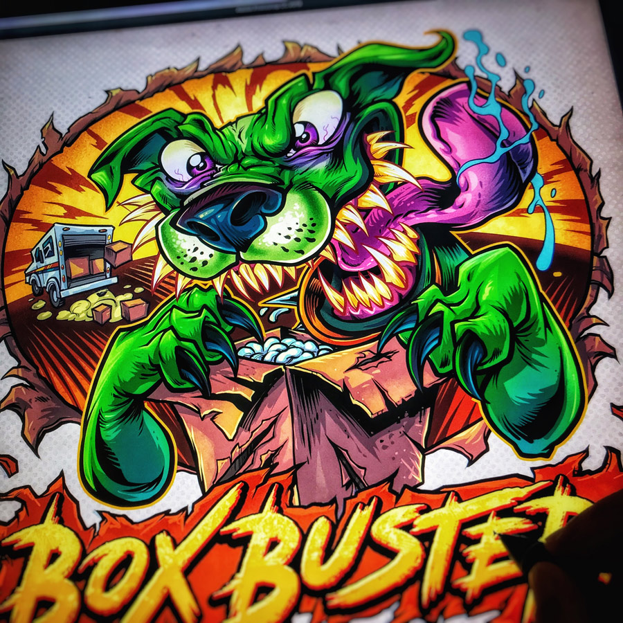 Crazy green dog ripping into box