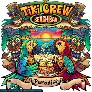 Two parrots at the beach with be