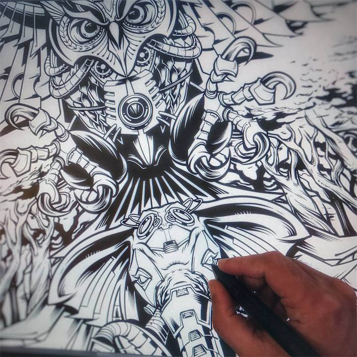 Detailed dark illustration of a mechanical robot owl flying over a mechanical elephant in the forest with psychedelic mushrooms
