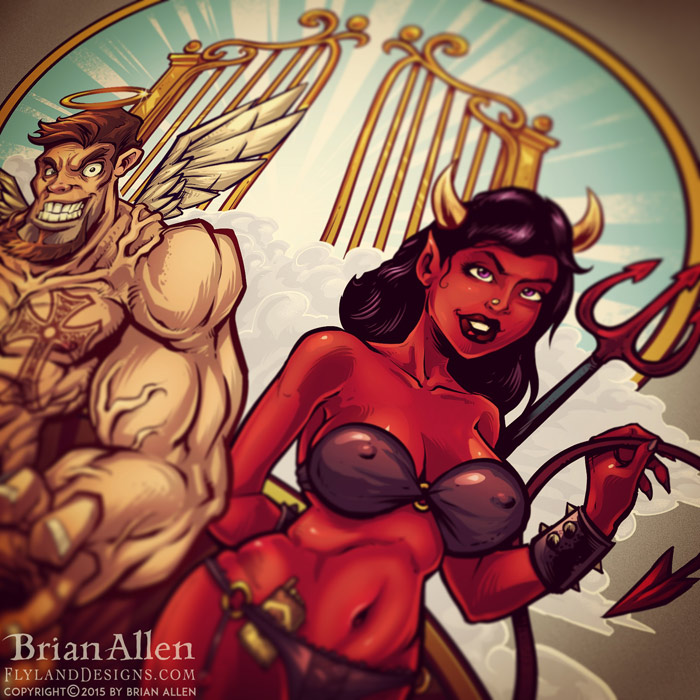 Logo illustration of a muscular cartoon angel, and a sexy devil.