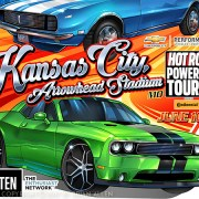 Hot rod muscle cars racing throu