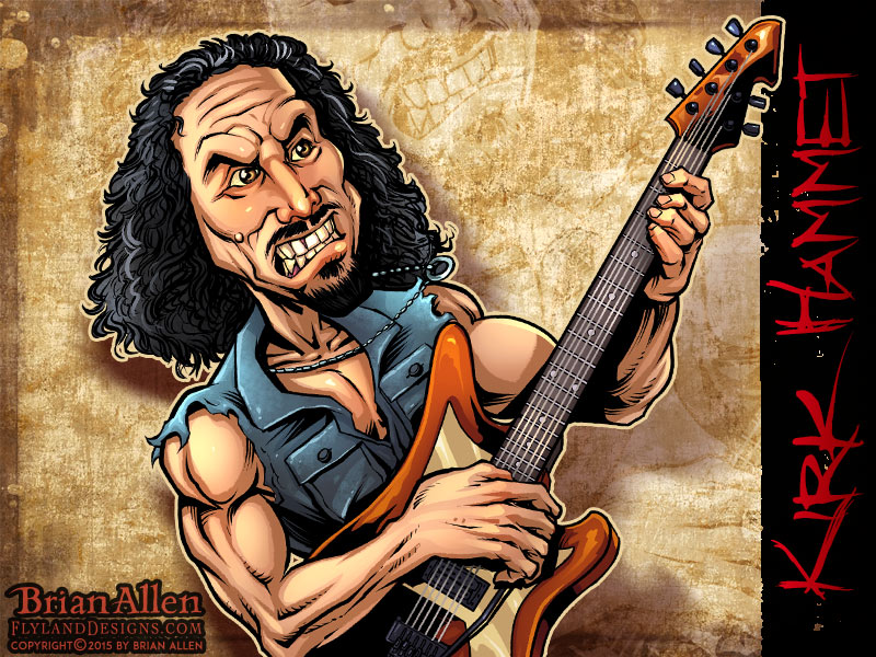 Caricature illustration of Heavy Metal Icon Kirk Hammet