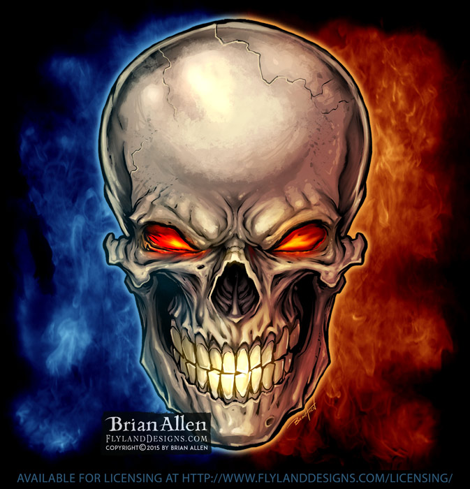 Grinning skull graphic with glow