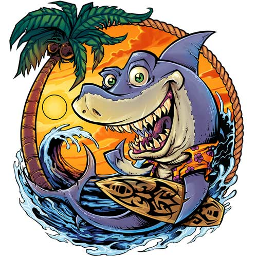 Custom light illustration of surfer shark