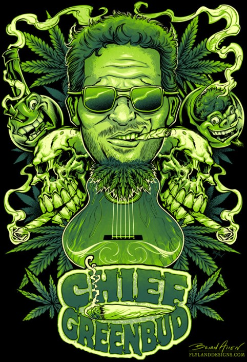 Marijuana themed t-shirt for musician featuring skulls, pot leaves, and pipes