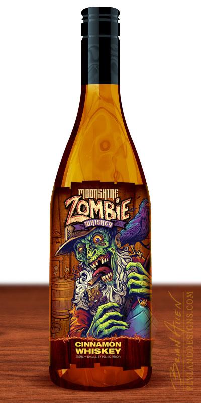 Die-cut label on bottle