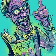 Zombie nerd wearing glasses and suspenders for a T-Shirt