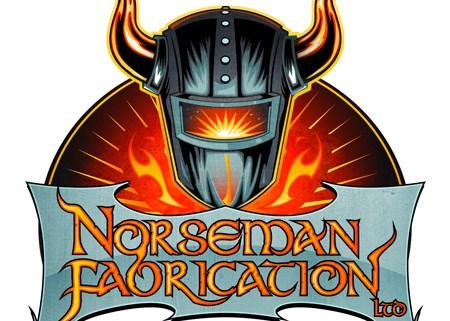 Welding mask with viking horns logo
