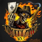 Skeleton outlaw cowboy holding a smoking gun and playing cards