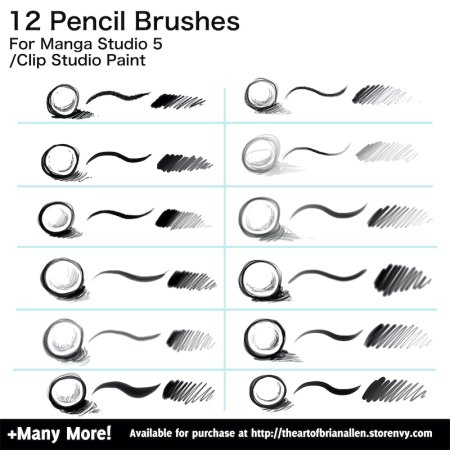 Brush Presets for custom pencil Brushes for Manga Studio 5 (Clip Studio Paint)