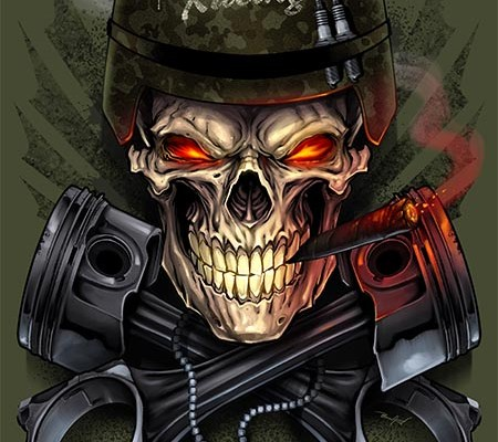 Angry skull with cigar in his mo