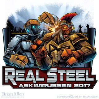 Illustration of two steel robots