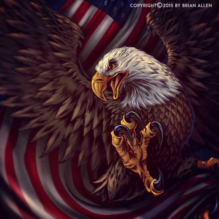 Patriotic illustration of an eagle and flag t-shirt design.