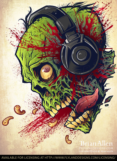 Zombie with Headphones artwork available for licensing