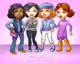 Character mascot illustrations of young trendy girls