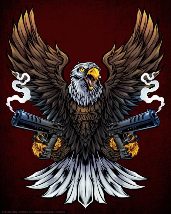 Amercian Bald Eagle holding two