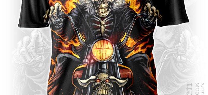 Skeleton riding through flames on a motorcycle