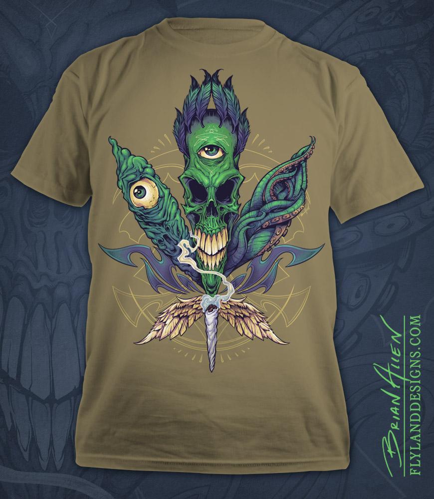 Illustration of skull pot leaf for a marijuana apparel brand