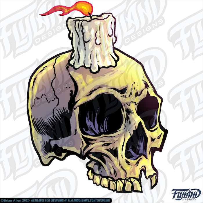 A white candle sits on a yellowing skull with a missing tooth with its empty socket steering into the abyss. Stock Artwork by freelance illustrator Brian Allen