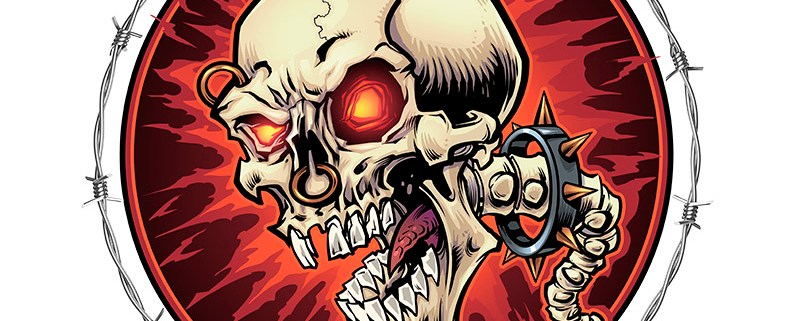 Evil Skull with glowing red eyes