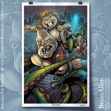 Art print of Sloth and Chunk from the goonies