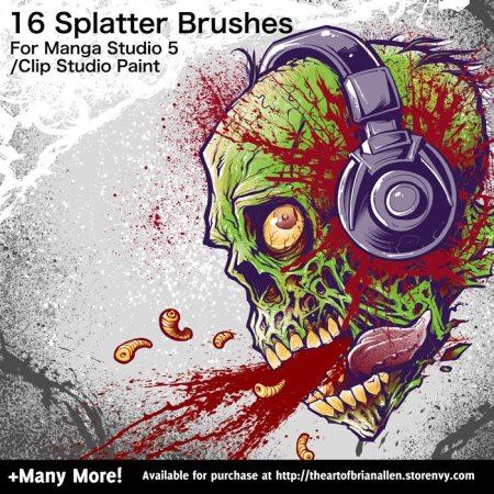 Brush Presets for custom Splatter Brushes for Manga Studio 5