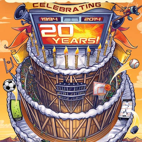 Magazine cover illustration of a giant sports stadium shaped like a birthday cake