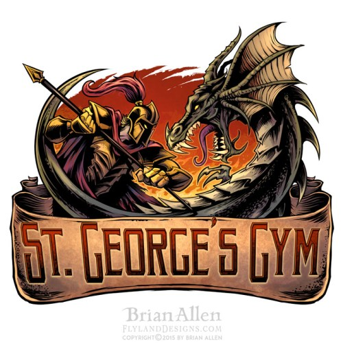 Logo design of a knight and dragon fighting