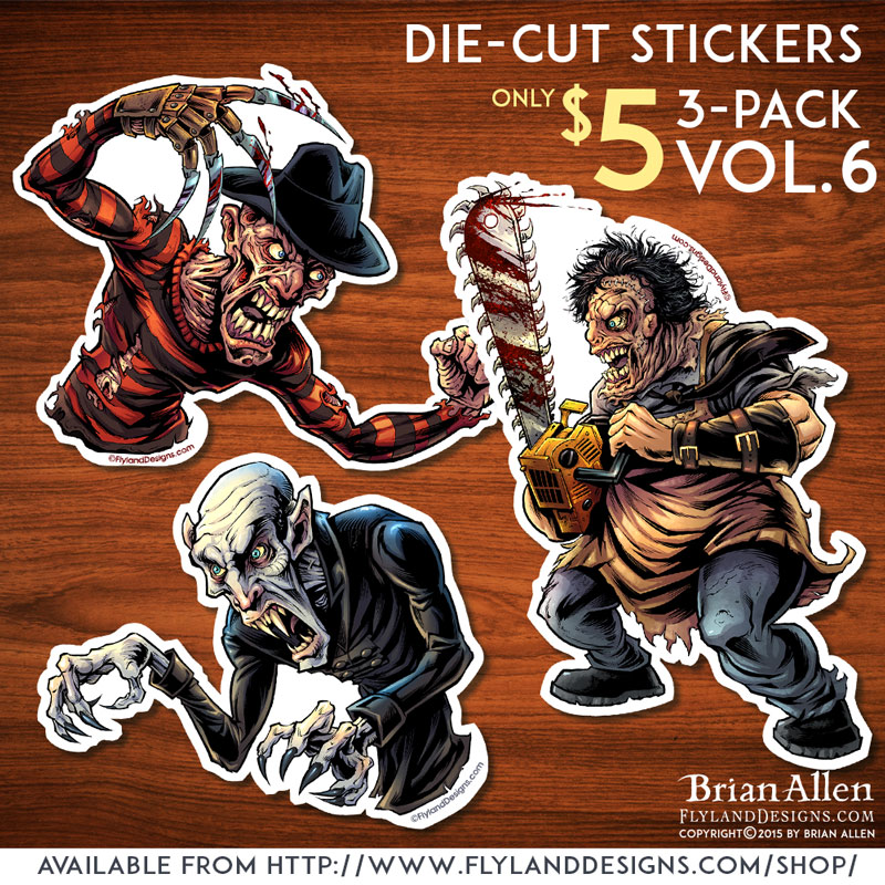 Die-cut sticker of horror movie monster Freddy, Leatherface, and Nosferatu