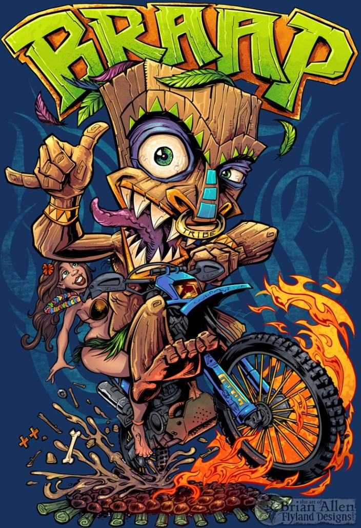Tiki Man Motocross Rider T-Shirt Illustration