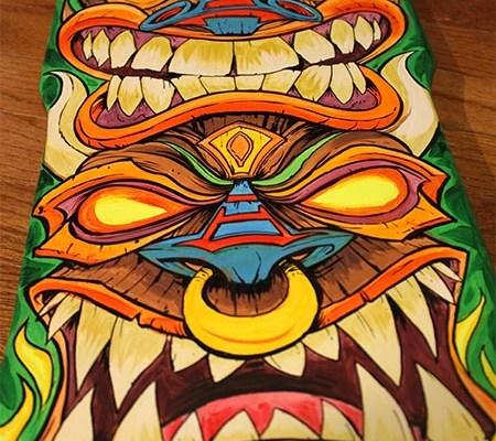 Hand-painted Tiki Skateboard Dec