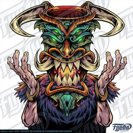 Tiki Head Witch Doctor Stock Artwork by freelance illustrator Brian Allen