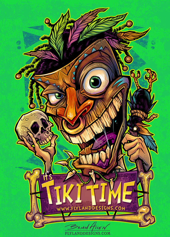 T-Shirt illustration of a tiki man witchdoctor with skull and crow